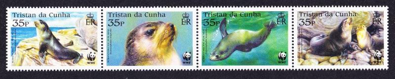 Tristan da Cunha WWF Subantarctic Fur Seal Strip of 4v SG#800/03 SC#747-50
