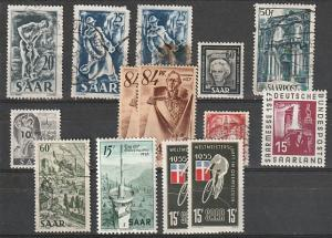 #215-6,219,200,175,170,205,261,253,284 Saar Used & Mint OGH
