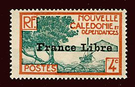 NEW CALEDONIA Scott #220 1941 France Libre overprint mint LH