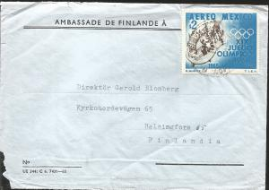 J) 1965 MEXICO, XIX OLYMPIC GAMES, AIRMAIL, CIRCULATED COVER, FROM MEXICO TO FIN