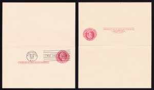 US REPLY CARD FDC ENTIRE SCOTT #UY13 (PM4 + PR4) 1951