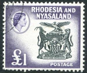 RHODESIA & NYASALAND-1959-62 £1 Black & Deep Violet Sg 31 FINE USED V23467