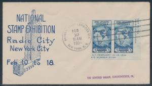 #735a ON ROESSLER FDC CACHET FEB 10,1934 NAT'L STAMP EXHIBITION CV $100 BU2742