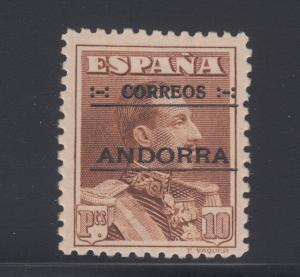 Andorra, Spanish Sc 12 MLH. 1928 10p brown, black ovpt, VLH, VF.