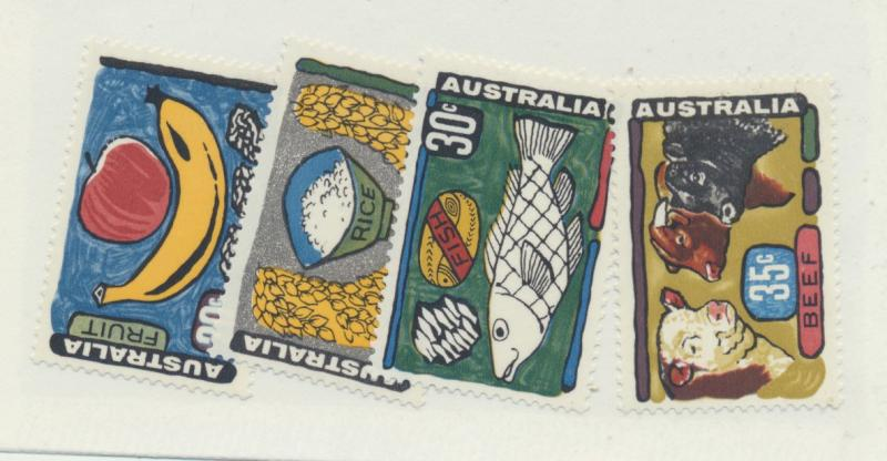 Australia Scott #519 To 522, Food Paintings Issue From 1972 - Free U.S. Shipp...