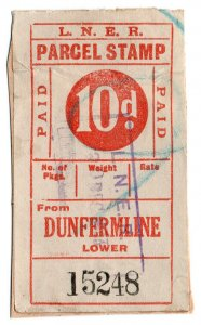 (I.B) London & North Eastern Railway : Parcel Stamp 10d (Dunfermline)