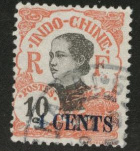French Indo-China Scott 69a closed 4, used 1919 overprint