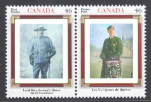 Canada Mint VF-NH #1877a Canadian Regiments pair