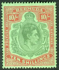 BERMUDA-1939 10/- Bluish Green & Deep Red/Green Perf 14.  A lightly mounted mint