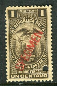 ECUADOR; Early 1900s fine Fiscal issue Mint MNH unmounted SPECIMEN 1c.