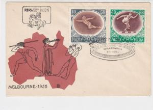Poland 1956 Melbourne Olympics Staium Ringed Cancel FDC Stamps Cover Ref 23053