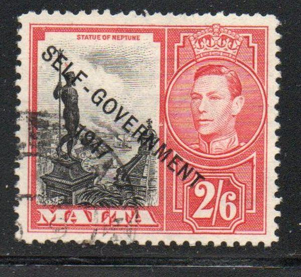 Malta Sc 220 1948 2/6d Neptune Self Government ovpt stamp used