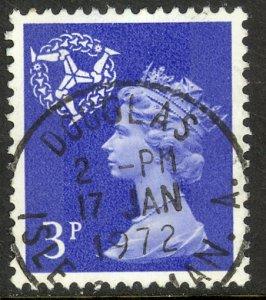 GREAT BRITAIN REGIONALS / ISLE OF MAN 1971 QE2 3p MACHIN Sc 9 VFU