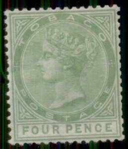 TOBAGO #10, 4p yellow green, og, LH, F/VF, Scott $325.00