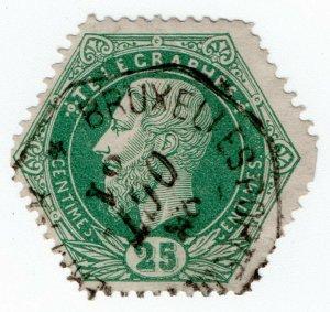 (I.B) Belgium Telegraphs : 25c Green (1871)