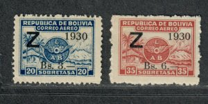 Bolivia Sc#C25-C26 M/NH/F-VF, Cv. $160
