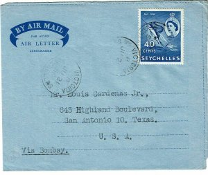 Seychelles 1956 Victoria cancel on formula air letter sheet to the U.S.