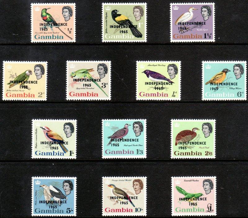 1965 GambiaIndependence 1965 Bird o/p set MNH Sc# 193 / 205 CV $15.60