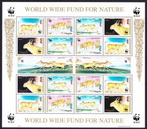Mongolia WWF Saiga Sheetlet of 4 sets SG#2497-2500 MI#2562-2565 SC#2209-2212