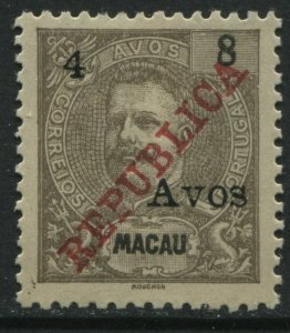 Macao 1913 4a on 8a REPUBLICA mint o.g. hinged