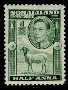 SOMALILAND PROTECTORATE GVI SG93, ½a green, M MINT.