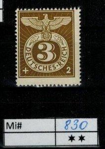 Deutschland Reich TR02 DR Mi 830 1939 Reich Postfrisch ** MNH