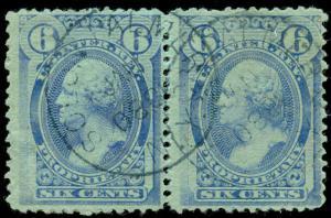 momen: US Stamps #RB17b Pair Revenue Used Handstamp