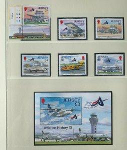 JE84) Jersey 2012 Aviation Part XI set of 6 & M/S MUH