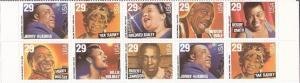US Stamp - 1994 Jazz Singers - 10 Stamp Block -   #2854-61