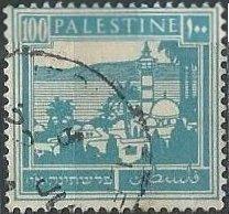 Palestine 80 (used) 100m Tiberias & Sea of Galilee, brt blue (1927)
