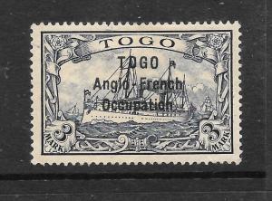 TOGO GERMAN  1914  3m  YACHT  MLH  SG H25