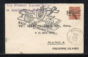 Philippines - 1926 MADRID-MANILA Air flight - RARE Cover