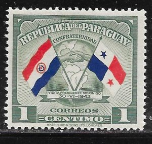 Paraguay 415: 1c Flags of Panama and Paraguay, MH, VF
