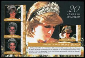 ST. VINCENT GRE. 2017  20th MEMORIAL ANNIVERSARY OF PRINCESS DIANA  SHEET I MINT