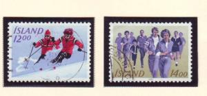 Iceland Sc 578-9 1983 Sports stamp set used
