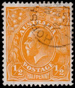 Australia Scott 66a, Perf. 14, Orange (1927) Used F-VF, CV $7.25 M