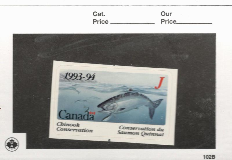 1993-94 Canada  British Columbia Chinook Conservation Stamp  Non-Tidal Waters