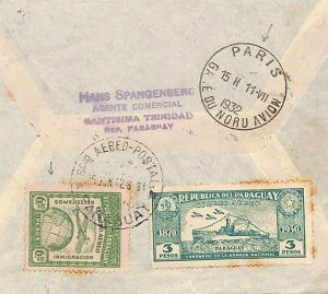PARAGUAY Cover Santisima 6.80 HIGH VALUE *PARIS AIRPORT* Transit Superb 1932 D72