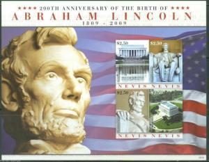 NEVIS 200th BIRTH ANN. ABRAHAM LINCOLN   IMPERFORATE SHEET SCOTT# 1569   MINT NH