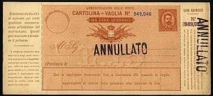 SAN MARINO L15 Cartolina Vaglia handstamped ANNULLATO.....................21166