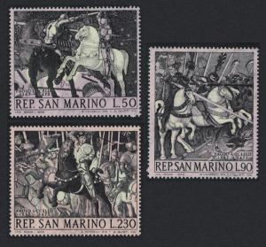 San Marino Horses 671st Birth Anniversary of Paolo Uccello painter 3v SG#849=852