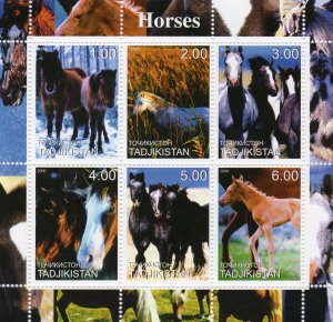 Tajikistan 2000  HORSES - MAMMALS - Sheetlet (6) MNH