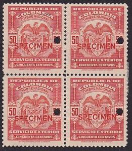 COLOMBIA 1944-56 SERVICIO EXTERIOR 50c block of 4 mint SPECIMEN.............7914