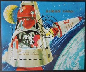 AJMAN 1971 Russia dogs in space VFU Sputnik 2 Laika