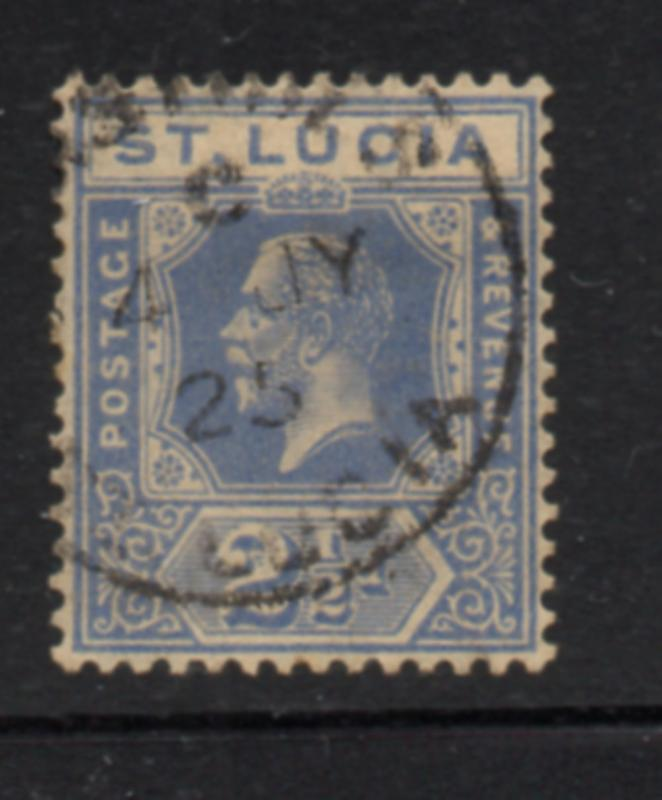 St Lucia Sc 81 1921 2 1/2d ultra George V stamp used