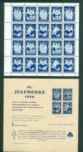 Norway. 1956 1 Sheet Christmas Seal With 20 Seal. Princess Astrid. MNH.+ Page.