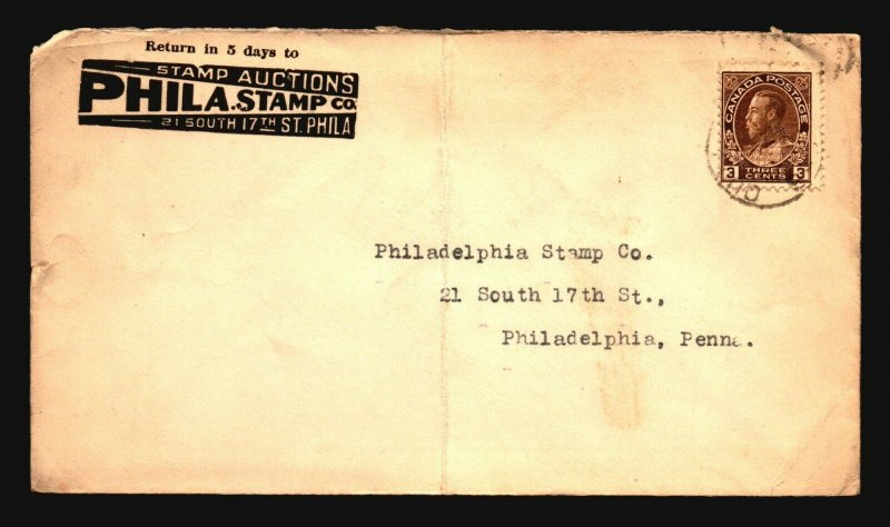 Canada 1920s Phila Stamp Co Cacheted Cover / Fold - Z16352