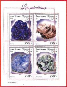 A3889 - DJIBOUTI - ERROR MISPERF, Miniature sheet: 2019, Minerals, Stones