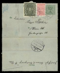 Austria 1923 Inflation Upfranked Rohrpost Pneumatic Mail Cover Postal Card 90196