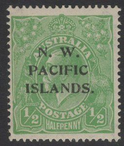 NEW GUINEA SG119w 1919 ½d GREEN WMK INVERTED MTD MINT